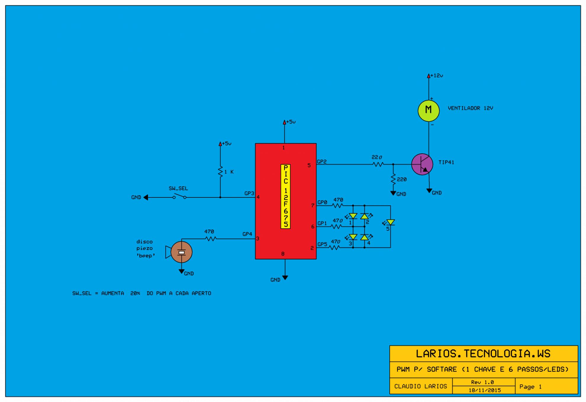 CONTROLANDO CARGAS EM CORRENTE CONTÍNUA (CC) USANDO UM ÚNICO INTERRUPTOR (MODO PWM )- C/ PIC 12F675 (REF200)
