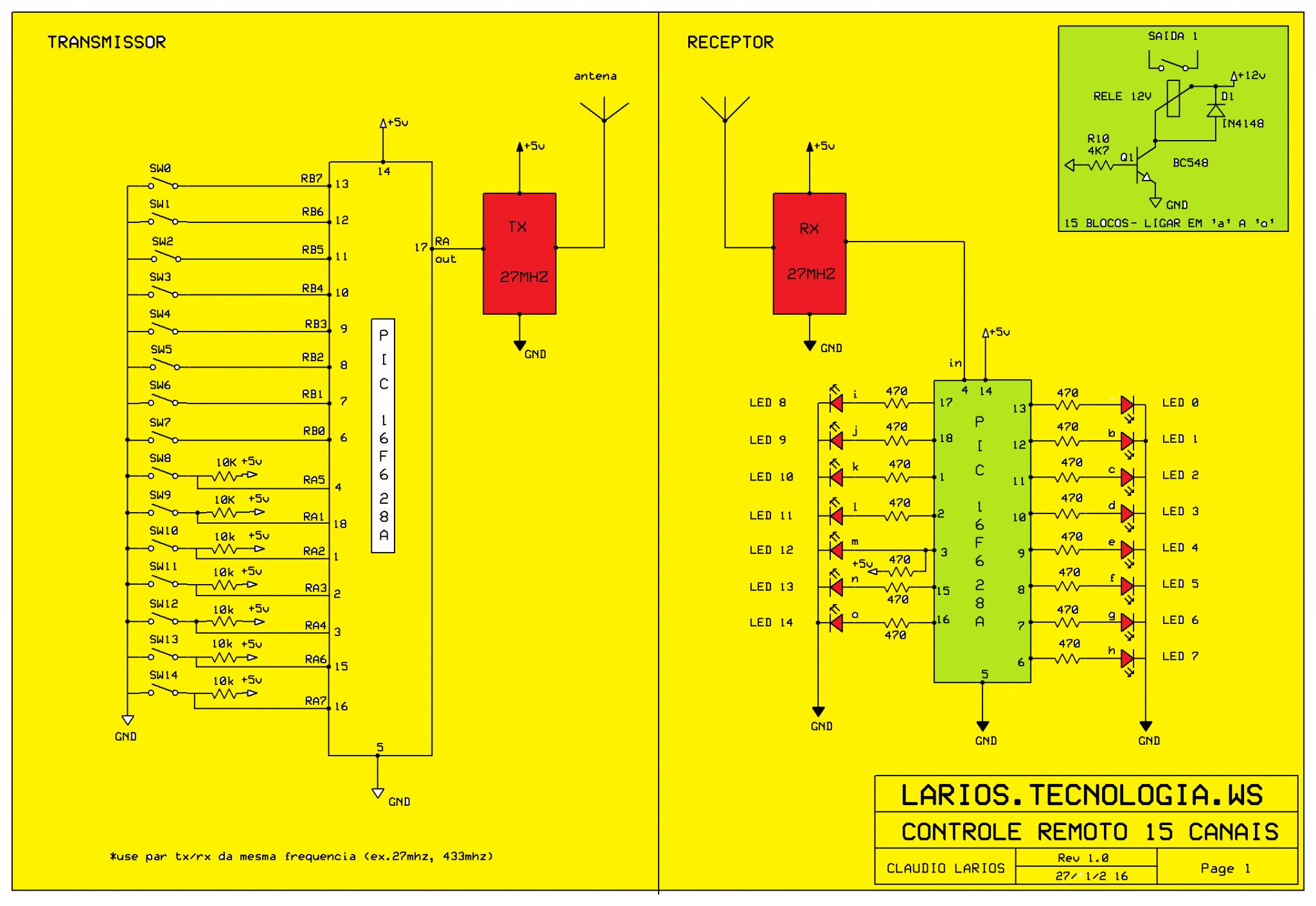 CONTROLE REMOTO COM 15 CANAIS (RF) – COM PIC 16F628A (REF208)