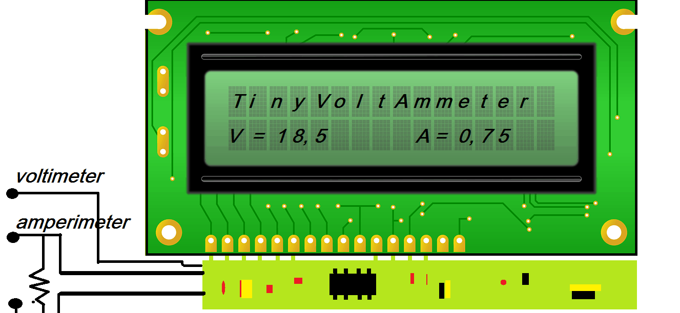 TINY VOLT-AMMETER – VOLTIMETRO E AMPERIMETRO C/ PIC 12F675 E LCD (REF220)