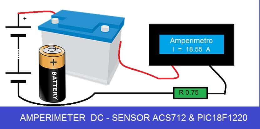 AMPERÍMETRO DC  20 AMPERES- C/ PIC 18F1220 E ACS712ELCTR-20A-T (REF317)