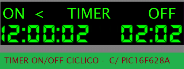TIMER ON/OFF CÍCLICO C/ PIC16F628A (REF 351)